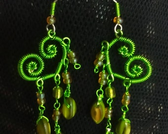 Gift for Her, Wire Wrapped Lime Green Mother of Pearl Heart Chandalier Earrings