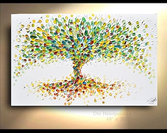 Tree Art Abstract Primary Painting Colorful Custom Landscape Trees Textured Palette Knife Vibrant MADE to ORDER OTO