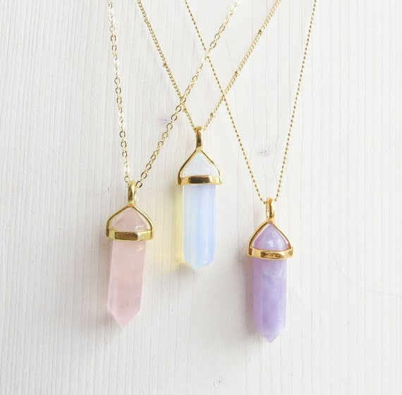 Opal Necklace | Violet Opal Necklace | Pink Opal Necklace | Purple Necklace | Stone Necklaces | Boho Necklace