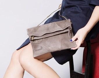 Summer SALE, Brown leather clutch, women wallet, handmade leather purse, crossbody foldover bag