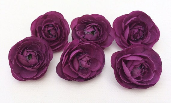 Silk Flowers - Six Small Silk Ranunculus Flowers in Purple - 1.5 Inches Artificial Flowers