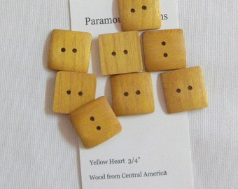 """8 Yellowheart Buttons Handmade Wood Buttons  3/4"""" Square Buttons"""