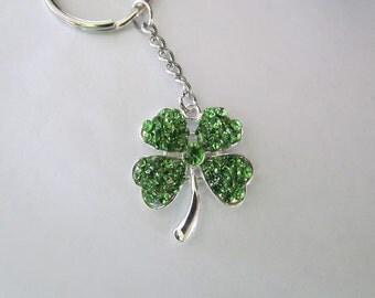 Green clover shamrock rhinestone charm keychain silver tone metal St. Patrick's day Luck of the Irish  Graduation gift