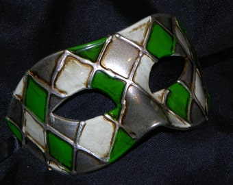 Off White, Green and Silver Harlequin Mask
