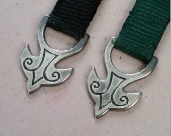 Vintage James Avery Dove and Cross Sterling Silver Book Mark 925 JA Grosgrain Ribbon Black or Green