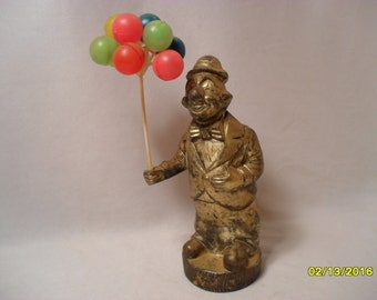 Vintage Tarnished Cool Silver Coated Clown with Plastic Balloons Coin Bank