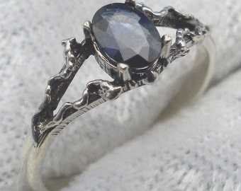 Dark Kashmir Blue Sapphire, Mythological Stone Protector Ring, Recycled Sterling Silver