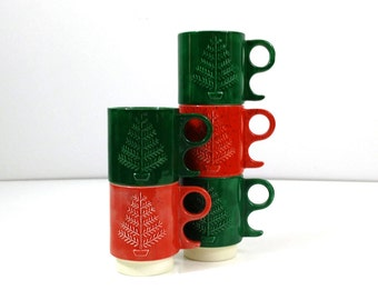 Vintage handmade Christmas Tree Mugs in Red and Green, set of 5, Stacking ceramic cups