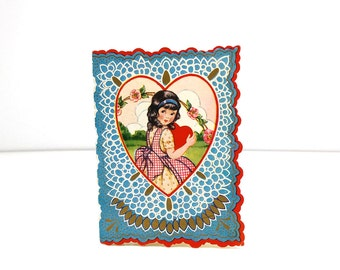 Vintage Die Cut Valentine's Day Card