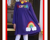 Rainbow Dress - Toddler Girls Personalized Rainbow Dress - Rainbow Birthday Dress - You Choose Dress Color
