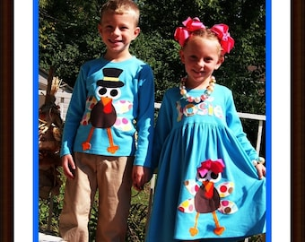Sibling Thanksgiving Set - Matching Thanksgiving Clothing Boy and Girl - Infant Toddler Youth Sizes - Turquoise or Brown Shirt and Dress