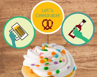Instant Download Beer Party Cupcake Toppers Craft Circles