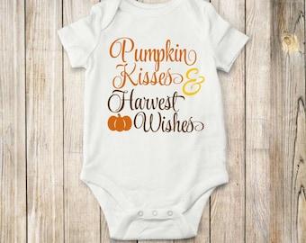 Pumpkin, Kisses, Onesie, Fall, bodysuit, shirt, children, tops, clothing