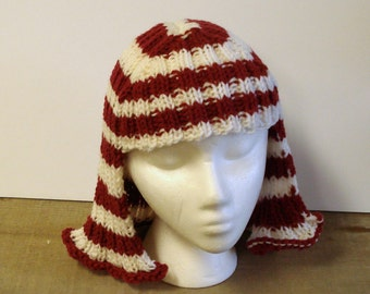 Red and White Striped Hat Hair Knit Wig