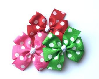 Pick One - Polka Dot Pinwheel Hair Bow - Medium 3 inch Bow - 26 Color Choices
