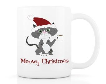 Meowy Christmas Cat Mug - Your Cat as a Cartoon on a Mug! Funny Mug, Custom Mug, Custom Pet Portrait, Personalized Mug, Funny Cat Mug