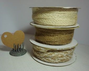 5M Natural Jute Twill Ribbon 100mm wide - 3 colours *Gift Wrapping*Crafts ~ Shabby Chic*Rustic*