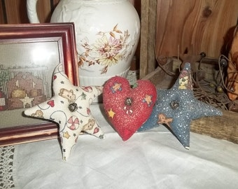Primitive Holiday Bowl Fillers Stars Heart Gingerbread