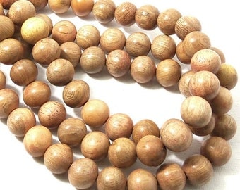 Narra Wood Bead, 12mm, Very Light, Tan, Ash, Round, Smooth, Natural Wood Beads, Large, 16 Inch Strand - ID 1656-VLT