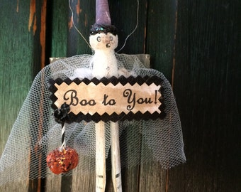 Vintage Style Halloween Folk Art Ghost Angel