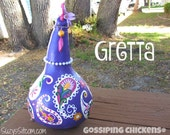 chickens, gourd art, gourd, paisley, painted gourds, purple, hot pink, green, decoration