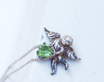 Cupid with Heart sterling silver pendant and chain green peridot heart cherub vintage jewelry gift for her Valentine's Day