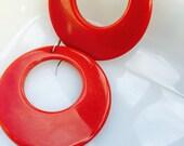 Vintage 1980s bright candy apple red hoop earrings