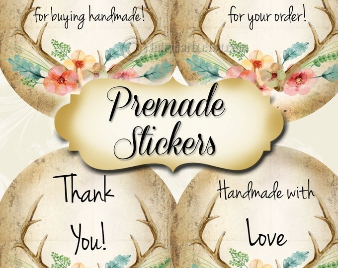 PREMADE•60 Custom 1.5 x 1.5 Round STICKERS•Labels•Tags•Package Labels•Custom Stickers•Custom Labels•WOODLAND Love Rustic