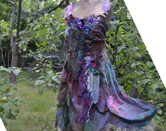 RESERVED Unique Art To Wear Dress Poisonous Flowers FOREST SWAMP Fairy Cinderella Antoinette Tattered Gipsy