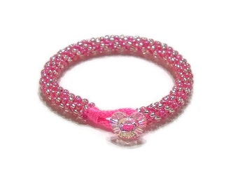 Pink and Silver Kumihimo Bracelet with Heart