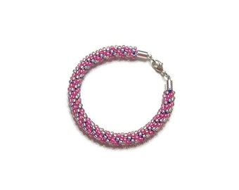Pink and Pale Blue Kumihimo Bracelet