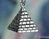 Egyptian Pyramid Charm Sterling Silver Egypt Vacation Travel 3D .925
