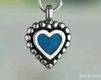 Sterling Silver Turquoise Heart Charm Beaded Border Small Solid .925