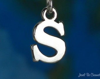 Sterling Silver Capital Letter S Charm Initial Alphabet Solid .925