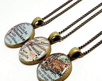 CUSTOM Vintage Map Necklace. You Select Location. Anywhere In The World. Map Pendant. Map Jewelry. Map Jewellery. Unique Map Gifts For Her.