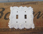 One Metal Wall Decor  Shabby Chic Plug in / Double Switch Plate Cover - Ornate  Roses - Distressed