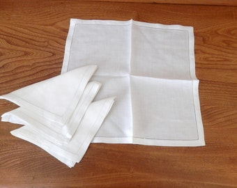 Vintage White Luncheon Size Linen Napkins - Set of Four