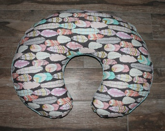 boppy cover-feathers boppy cover -plucked boppy cover with tiffany minky back- Ships Today