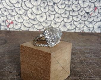 Crystal pyramid ring