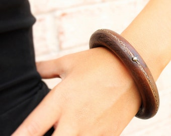 Wood and Sterling Bangle