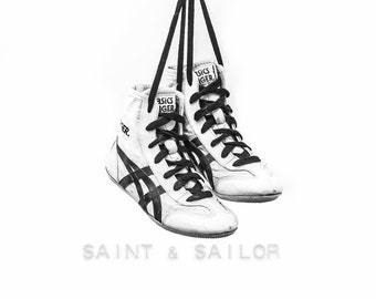 Black and White Vintage Wrestling Shoes on White Photo Print, Rustic Decor, Boys Room, Sports Theme room