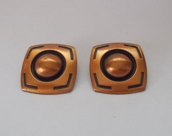 Vintage 1950s Mid Century Modern Copper Clip-On Earrings-Square with Center Dome