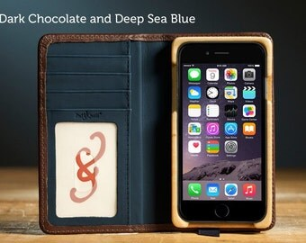 The Luxury Pocket Book case for iPhone 7 - Dark Chocolate and Deep Sea Blue