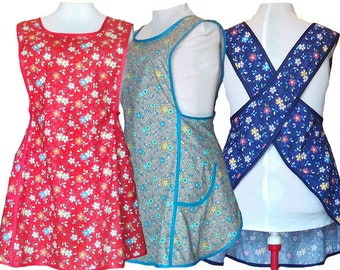 Plus Size Apron, Turquoise Happy Flowers on Red, Blue or Gray - Made to Order Sizes XL, 2X, 3X, 4X