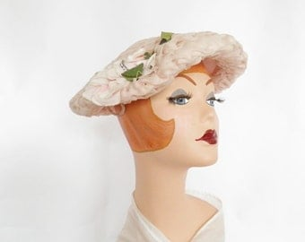 1950s pink hat, vintage rose and rhinestones, Mr. Henri