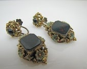 Antique Austro Hungarian Enamel Earrings. Victorian 835 Silver Bloodstone Agate Large Drop Pendant Earrings. Hallmarked Budapest Jewelry