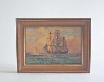 Vintage Clipper Ship Print, Framed