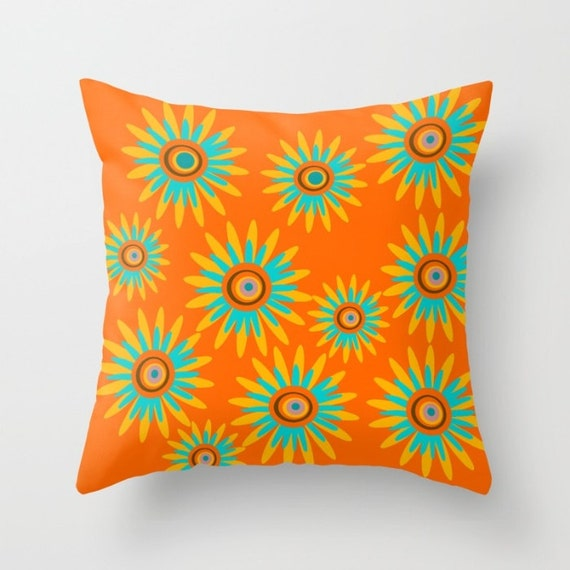 All Modern Outdoor Pillows : Outdoor Pillow Modern Outdoor Pillow Orange Flower Pillow