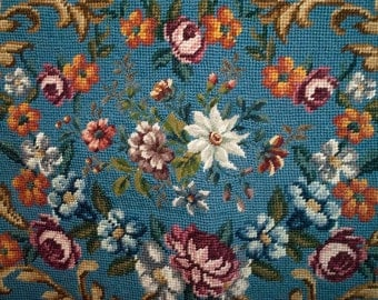 Quality Vintage Floral Needlepoint Chair Cover