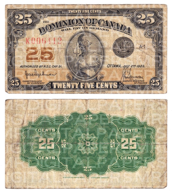 1920s Canada Canadian Cent Currency Money Bill. 9.25 x 10.25.  1920s Canada Ca...
